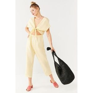Urban Outfitters Tie-Front Cut-Out Linen Jumpsuit